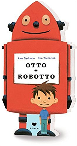 Cover des Bilderbuchs Otto + Robotto zeigt nicht nur einen roten Roboter, sondern es hat auch Roboterform und ist aus so dicker Pappe, dass es sogar stehen kann.