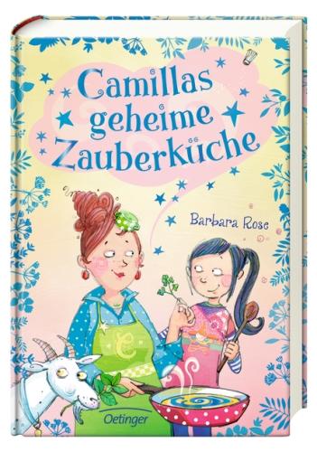 Tante Camilla mit Kräutern und Pfanne in der Hand und Missi mit einem Kochlöffel