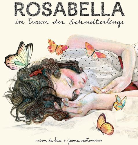 Ein schlafendes Mädchen, umflattert von zahlreichen Schmetterlingen